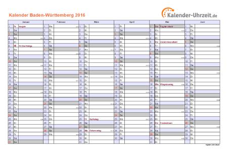 Baden-Württemberg Kalender 2016 mit Feiertagen - quer-zweiseitig