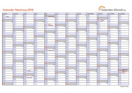 Hamburg Kalender 2016 mit Feiertagen - quer-einseitig