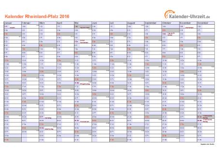 Rheinland-Pfalz Kalender 2016 mit Feiertagen - quer-einseitig