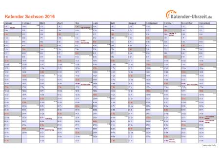 Sachsen Kalender 2016 mit Feiertagen - quer-einseitig
