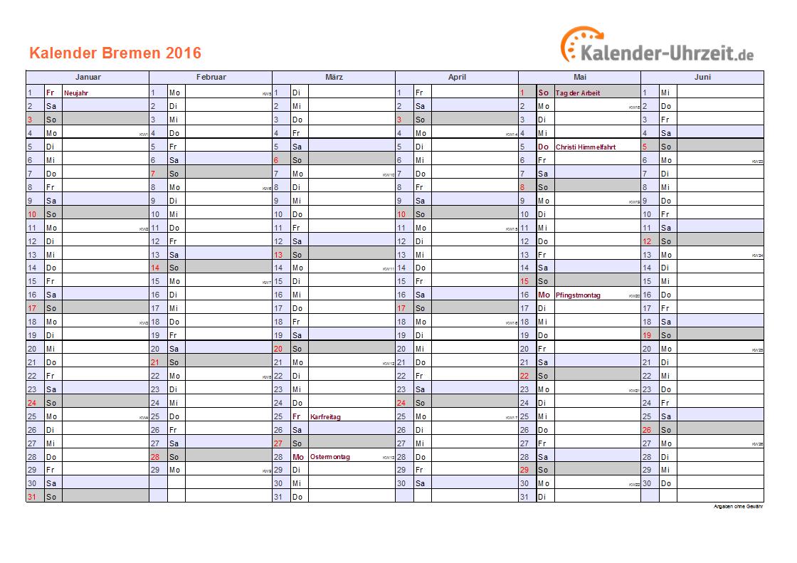 Kalender 2016 Bremen mit Feiertagen