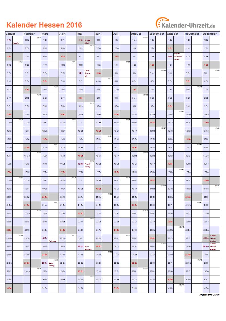 Feiertage 2016 Hessen Kalender