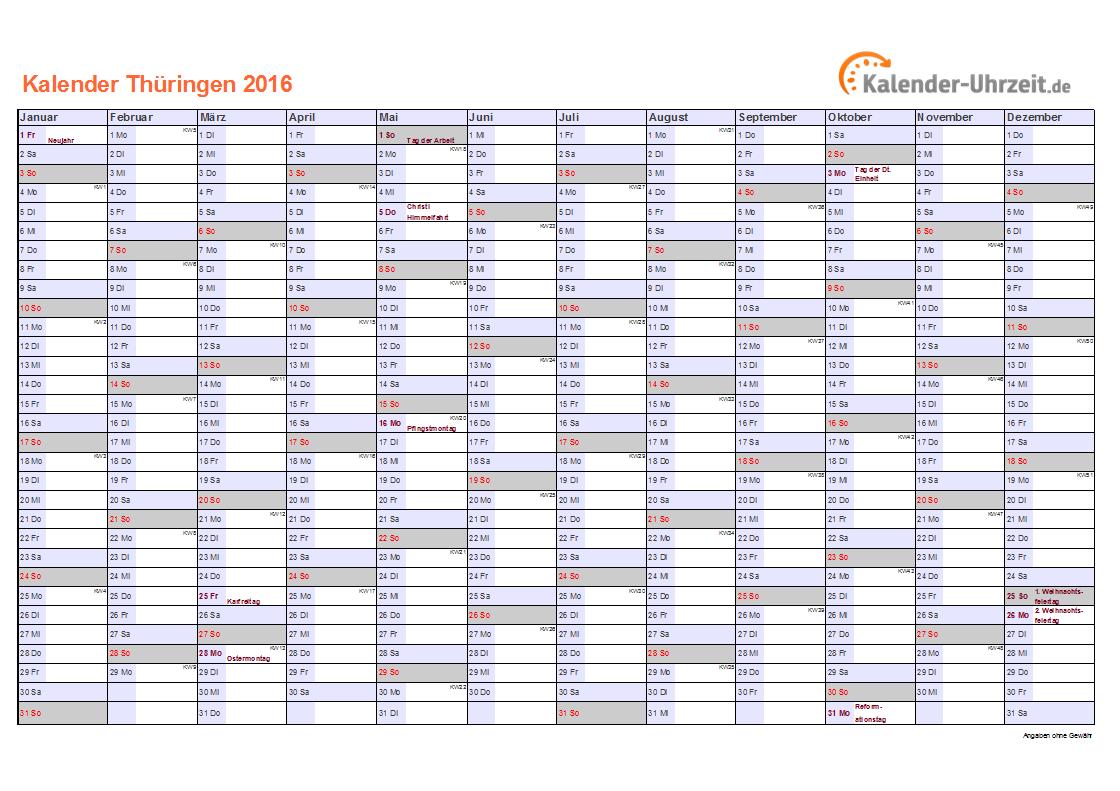 Thüringen Kalender 2016 mit Feiertagen - quer-einseitig