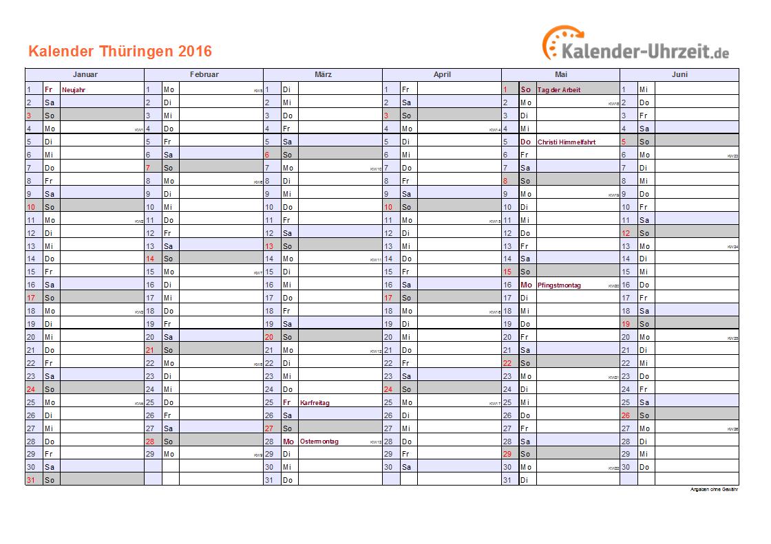 Thüringen Kalender 2016 mit Feiertagen - quer-zweiseitig