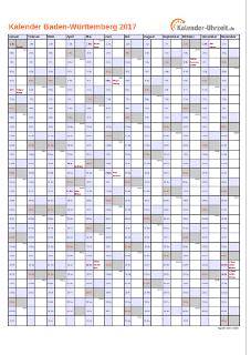 Baden-Württemberg Kalender 2017 mit Feiertagen - hoch-einseitig