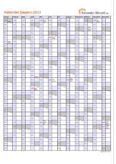 Bayern Kalender 2017 mit Feiertagen - hoch-einseitig