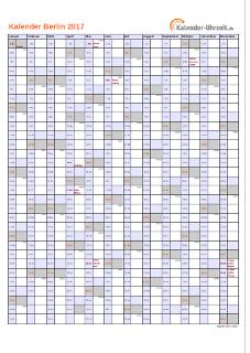 Berlin Kalender 2017 mit Feiertagen - hoch-einseitig