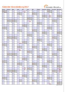Brandenburg Kalender 2017 mit Feiertagen - hoch-einseitig