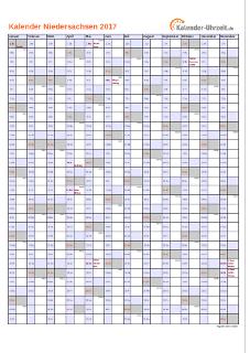 Niedersachsen Kalender 2017 mit Feiertagen - hoch-einseitig