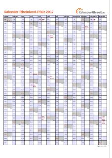 Rheinland-Pfalz Kalender 2017 mit Feiertagen - hoch-einseitig