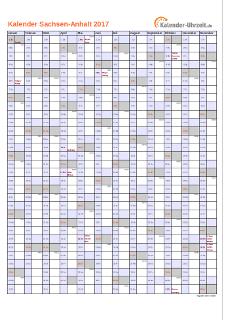 Sachsen-Anhalt Kalender 2017 mit Feiertagen - hoch-einseitig