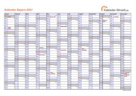 Bayern Kalender 2017 mit Feiertagen - quer-einseitig