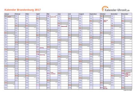 Brandenburg Kalender 2017 mit Feiertagen - quer-einseitig