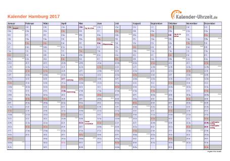Hamburg Kalender 2017 mit Feiertagen - quer-einseitig