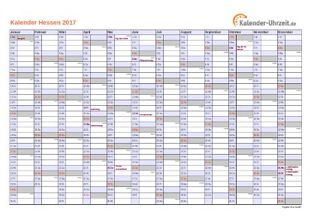 Hessen Kalender 2017 mit Feiertagen - quer-einseitig