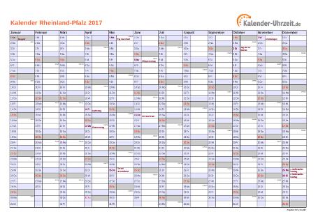 Rheinland-Pfalz Kalender 2017 mit Feiertagen - quer-einseitig