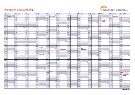 Saarland Kalender 2017 mit Feiertagen - quer-einseitig