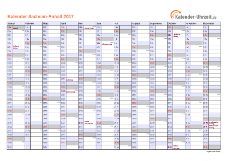 Sachsen-Anhalt Kalender 2017 mit Feiertagen - quer-einseitig