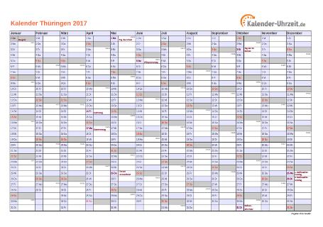 Thüringen Kalender 2017 mit Feiertagen - quer-einseitig