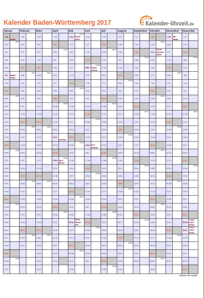 Baden-Württemberg Kalender
