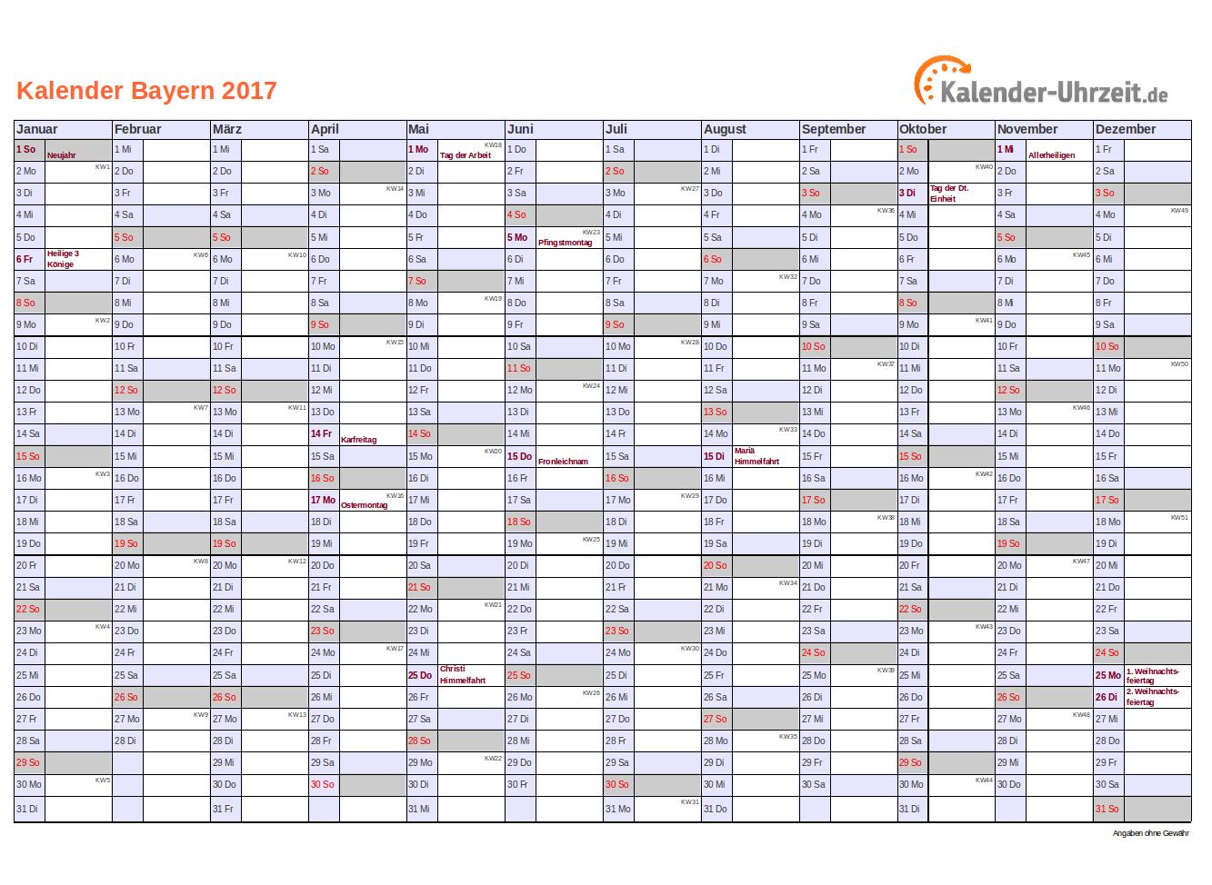 Bayern Kalender 2017 mit