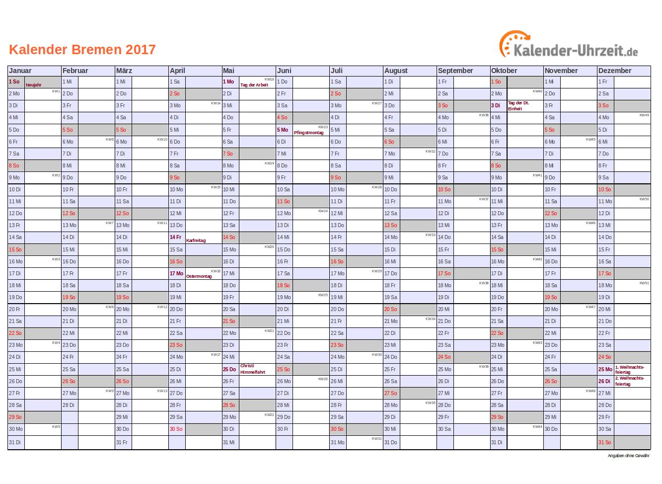 Bremen Kalender 2017 mit