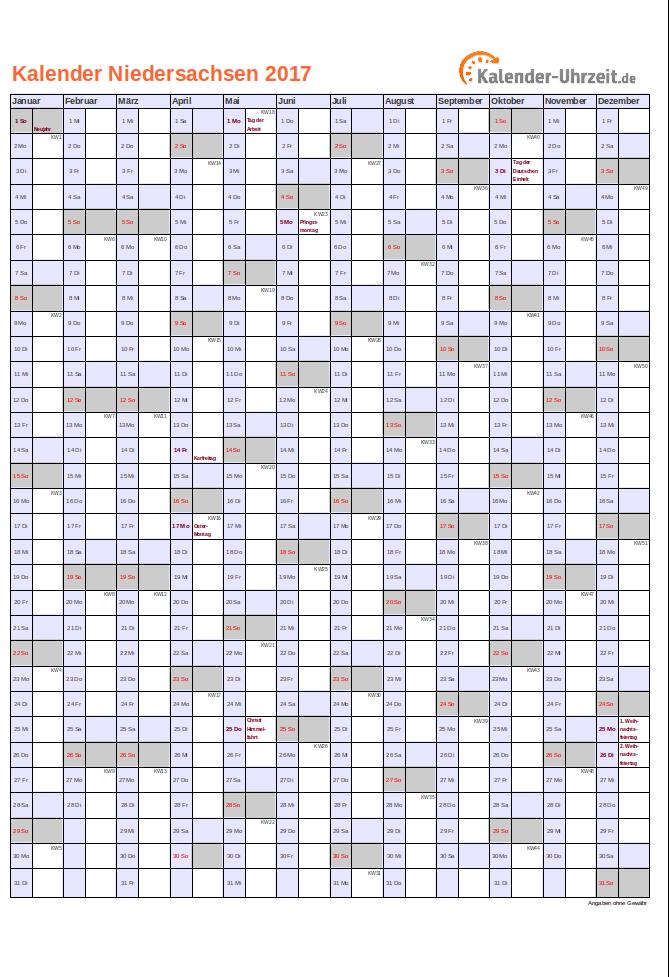 feiertage 2017 niedersachsen kalender. Black Bedroom Furniture Sets. Home Design Ideas