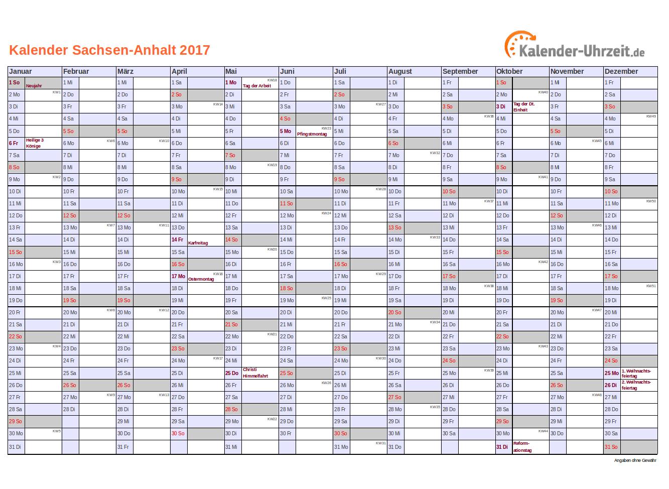 Sachsen-Anhalt Kalender 2017