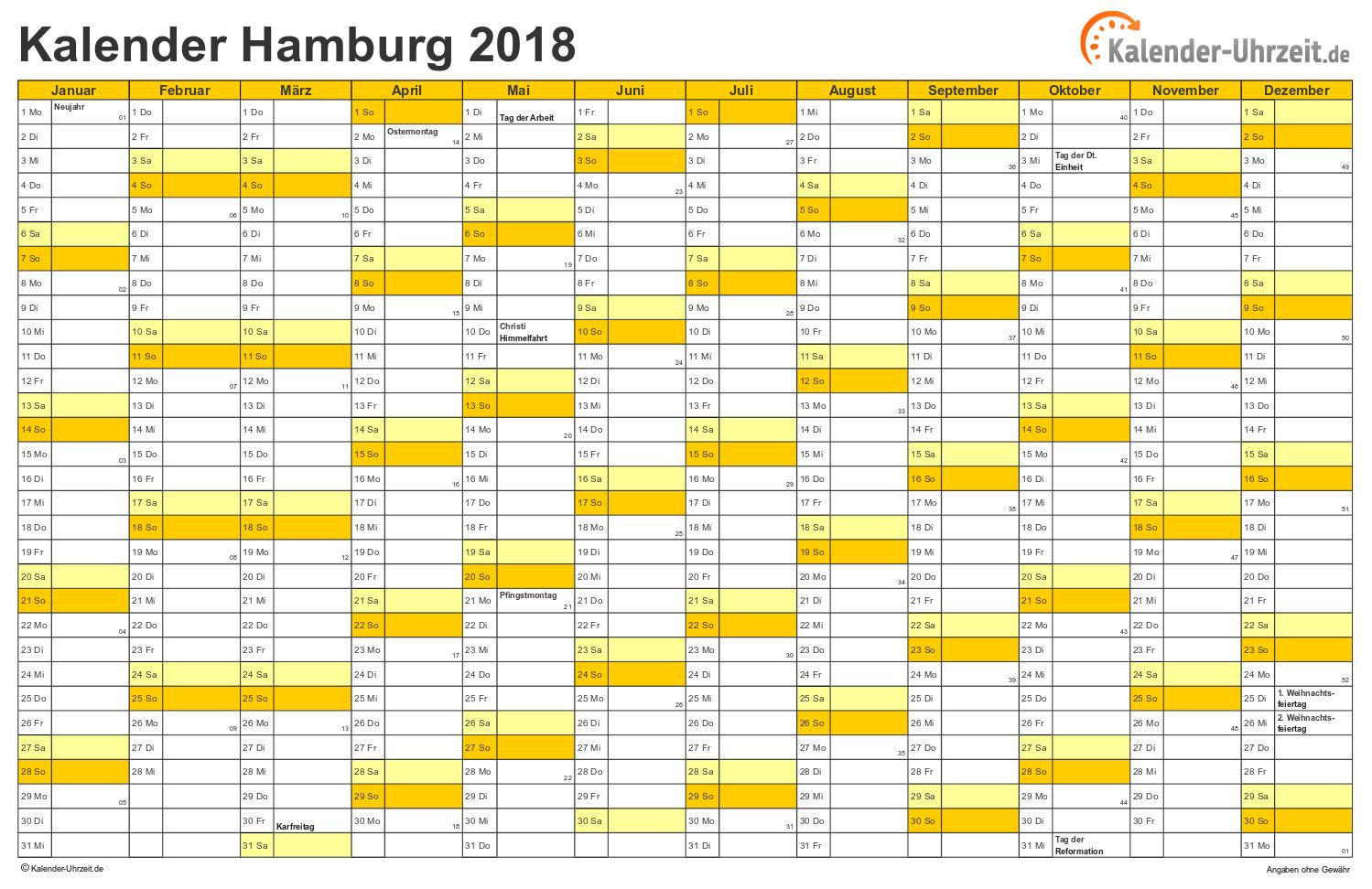 Hamburg Kalender 2018 mit Feiertagen - quer-einseitig