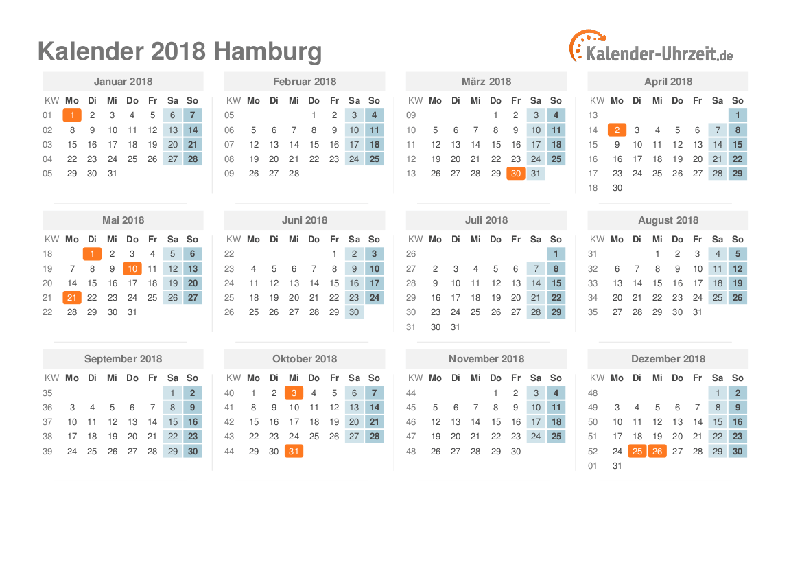 feiertage 2018 hamburg kalender. Black Bedroom Furniture Sets. Home Design Ideas