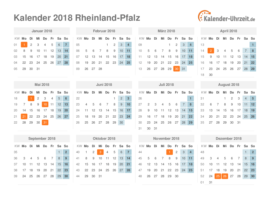 feiertage 2018 rheinland pfalz kalender. Black Bedroom Furniture Sets. Home Design Ideas