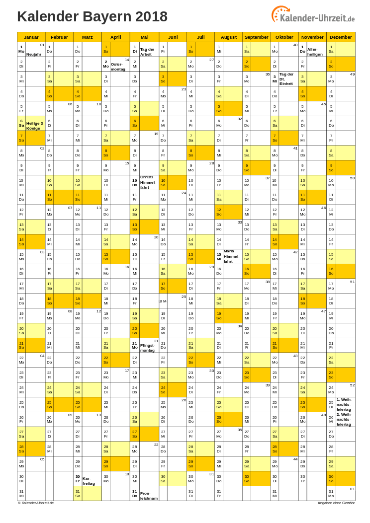 Bayern Kalender 2018 mit Feiertagen - hoch-einseitig