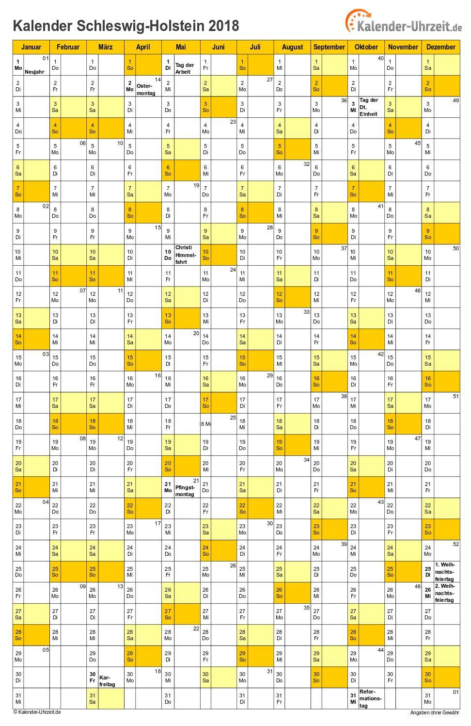 Hamburg Kalender 2018 mit Feiertagen - hoch-einseitig