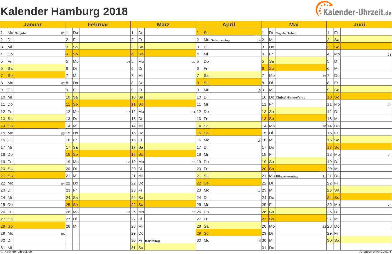 Hamburg Kalender 2018 mit Feiertagen - quer-zweiseitig