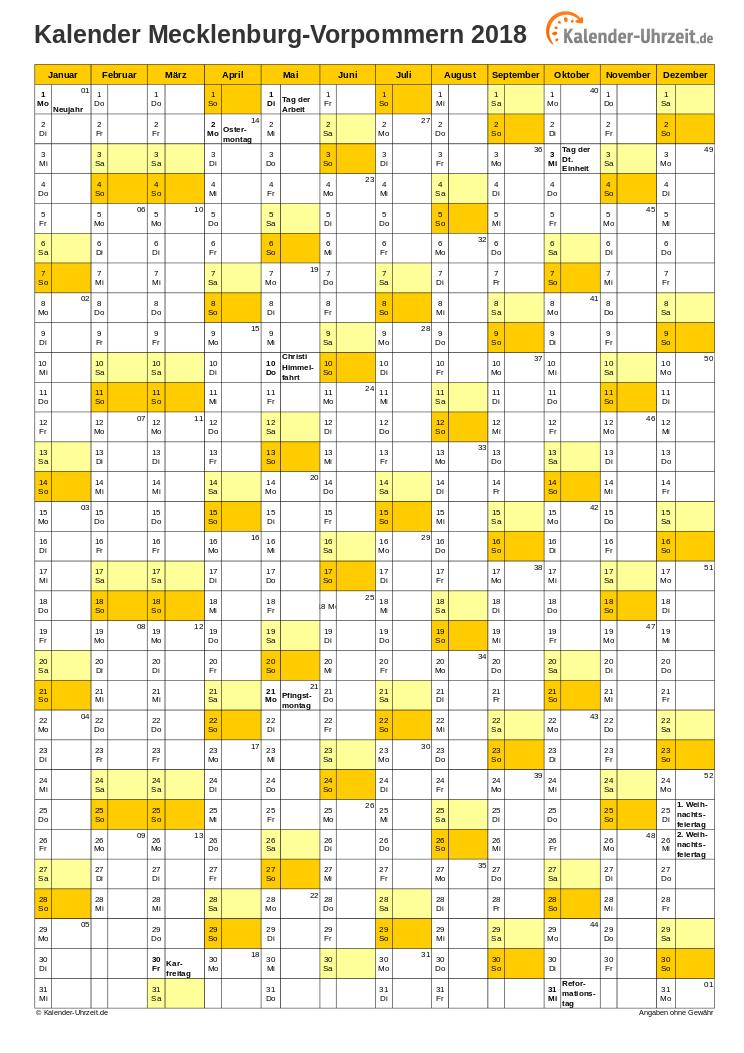 feiertag mv 2018
