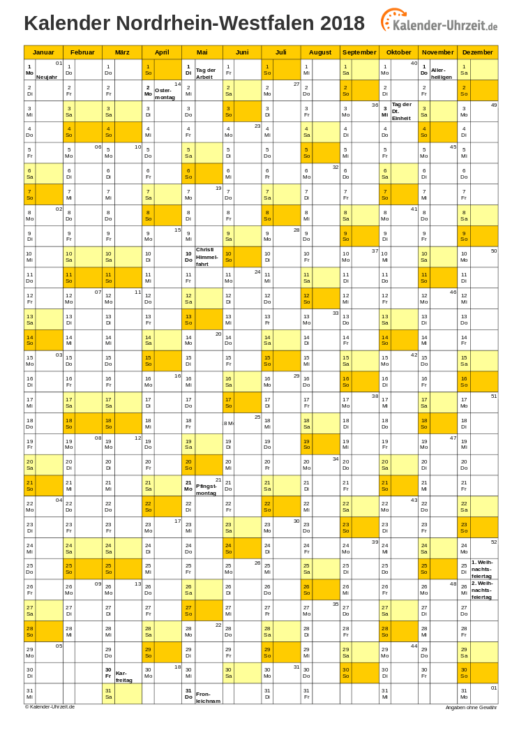 Nordrhein-Westfalen Kalender 2018 mit Feiertagen - hoch-einseitig