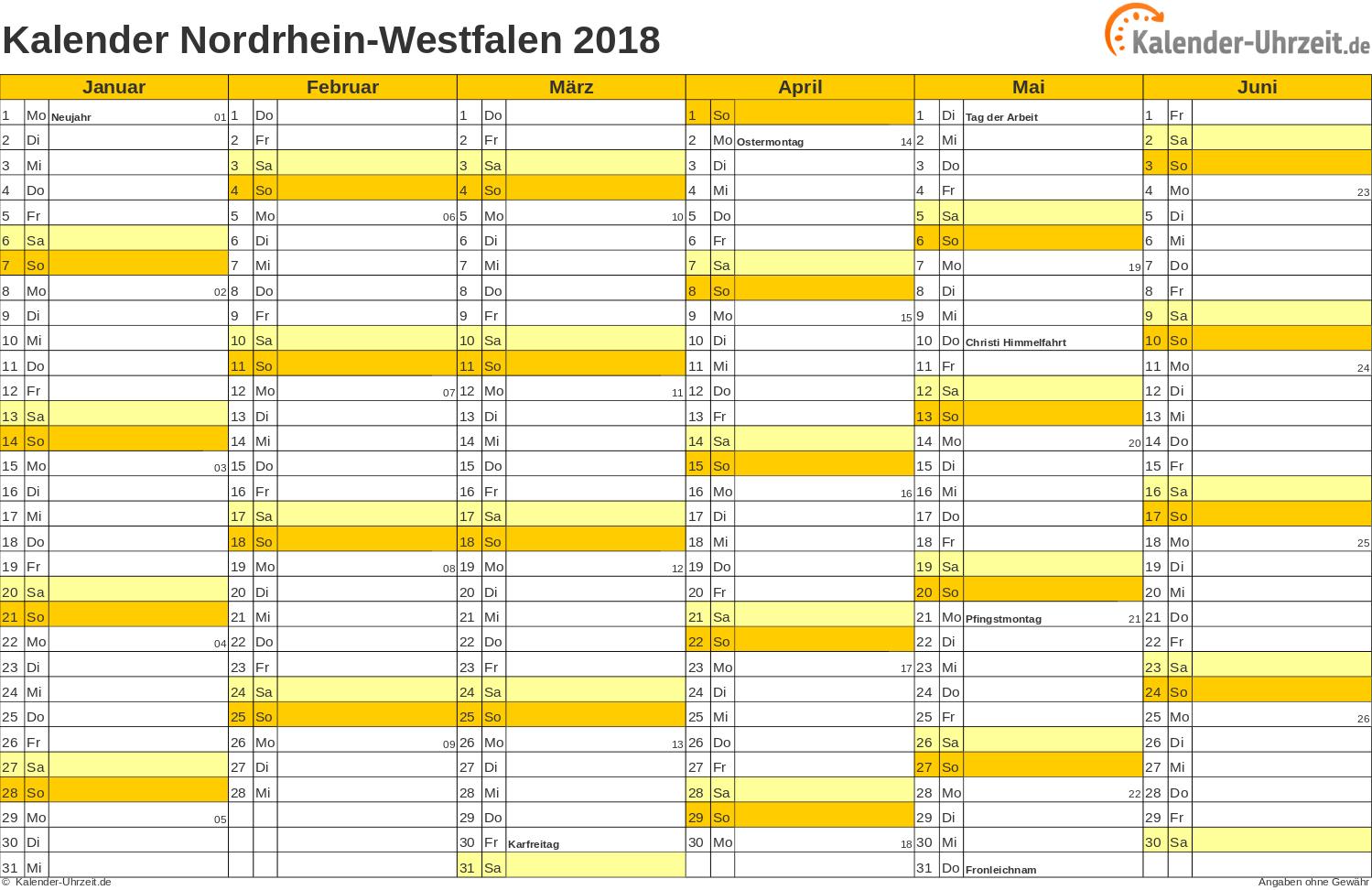 Nordrhein-Westfalen Kalender 2018 mit Feiertagen - quer-zweiseitig