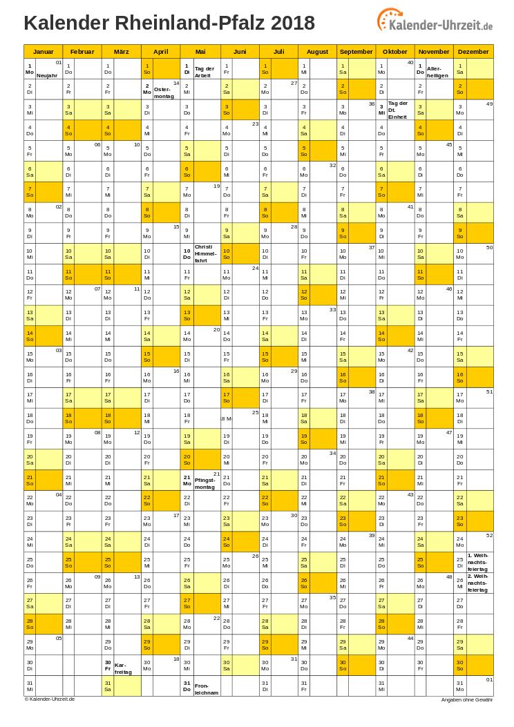 Rheinland-Pfalz Kalender 2018 mit Feiertagen - hoch-einseitig