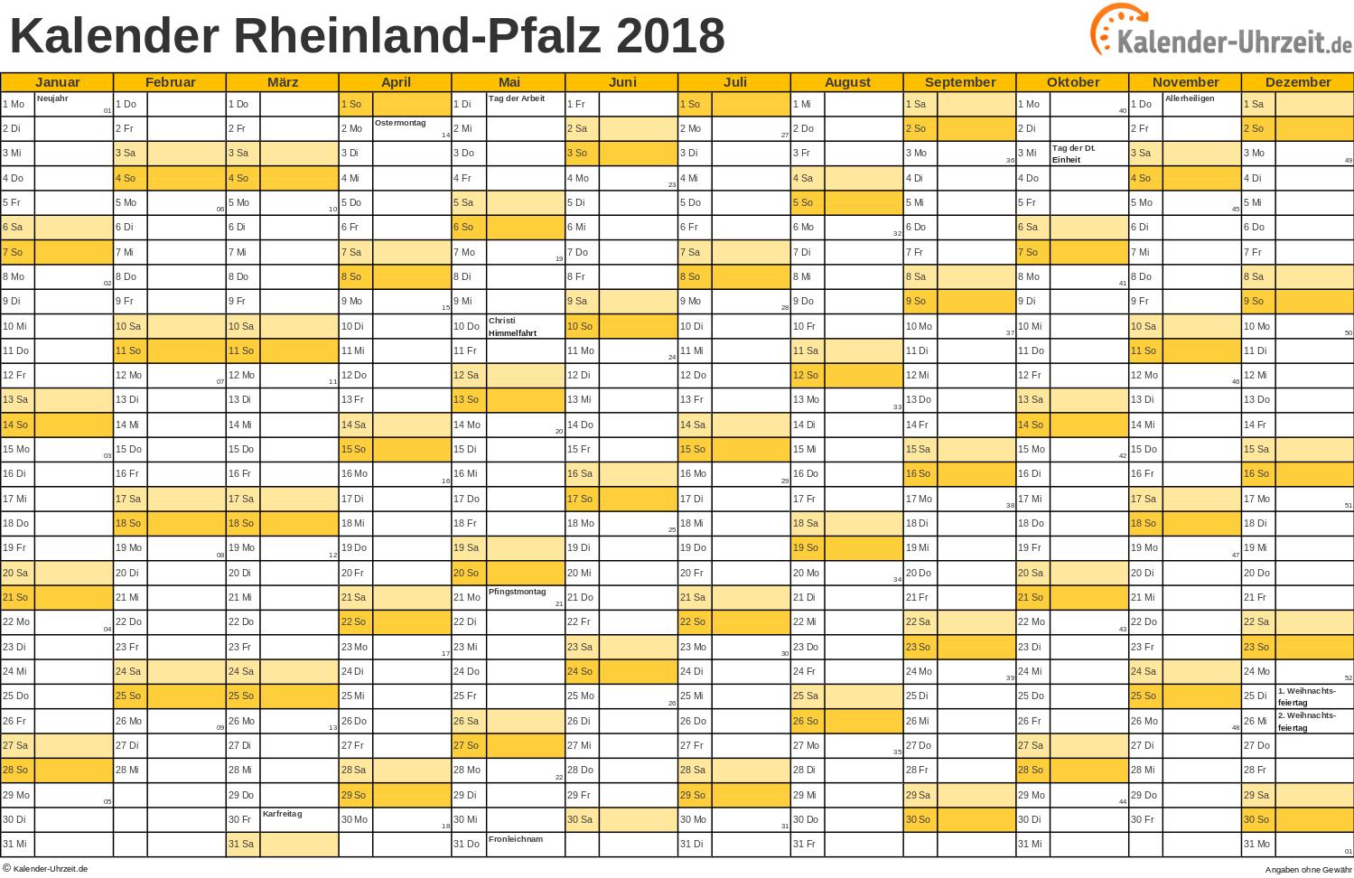 Rheinland-Pfalz Kalender 2018 mit Feiertagen - quer-einseitig