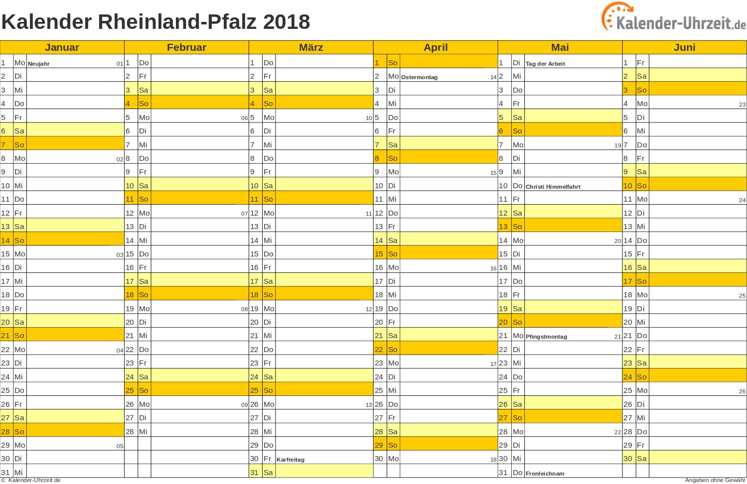 Rheinland-Pfalz Kalender 2018 mit Feiertagen - quer-zweiseitig
