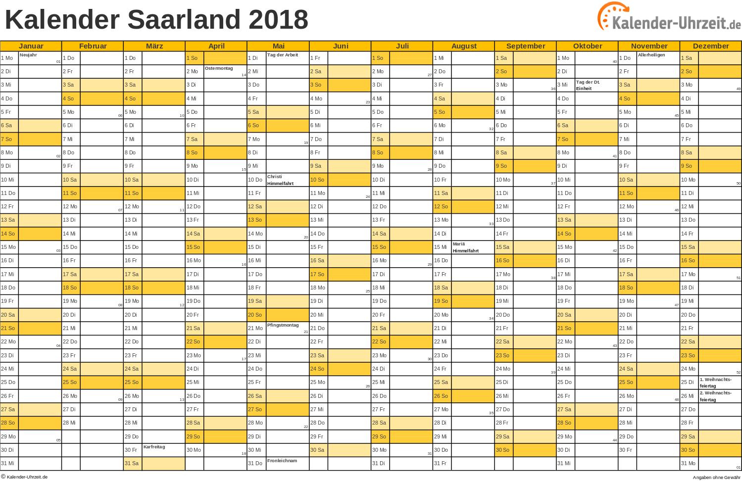 Kalender 2019 Mit Feiertagen Saarland