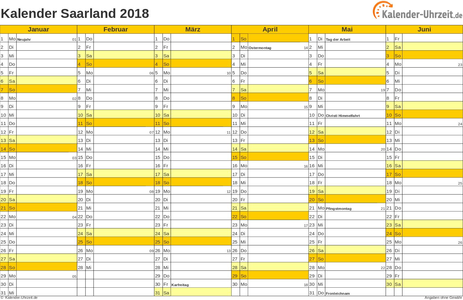 Saarland Kalender 2018 mit Feiertagen - quer-zweiseitig