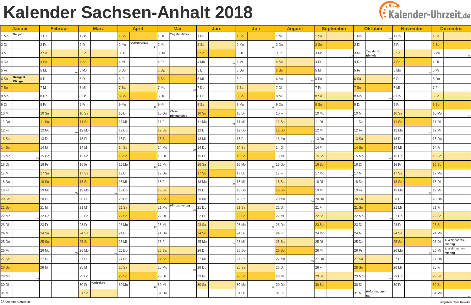 feiertage 2018 sachsen anhalt kalender. Black Bedroom Furniture Sets. Home Design Ideas