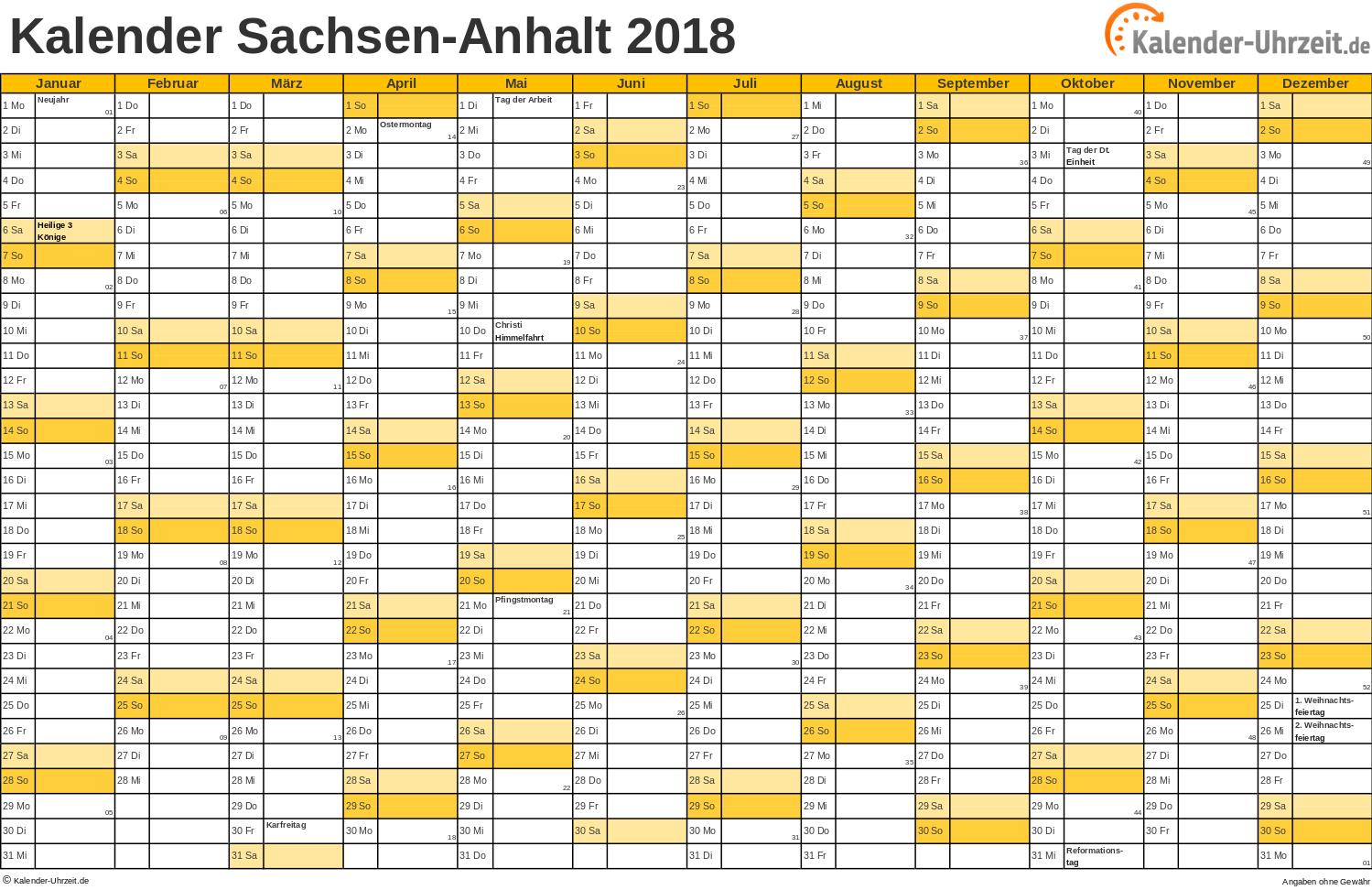 Sachsen-Anhalt Kalender 2018 mit Feiertagen - quer-einseitig
