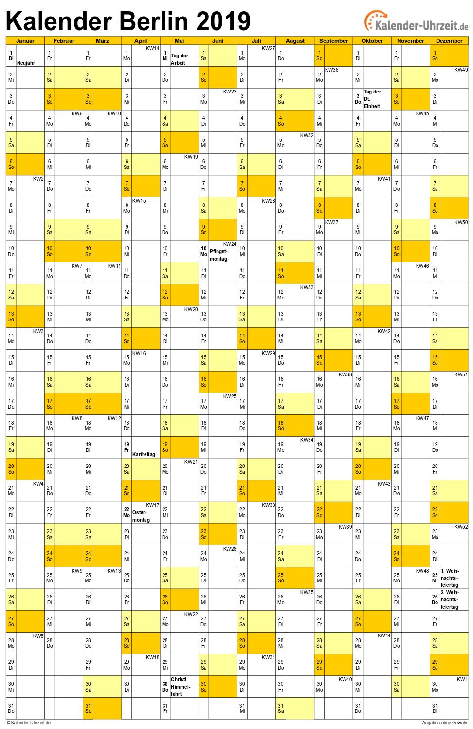 Berlin Kalender 2019 mit Feiertagen - hoch-einseitig