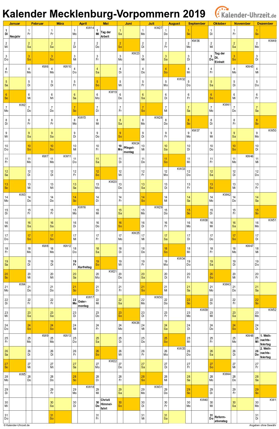 Meck.-Pomm. Kalender 2019 mit Feiertagen - hoch-einseitig
