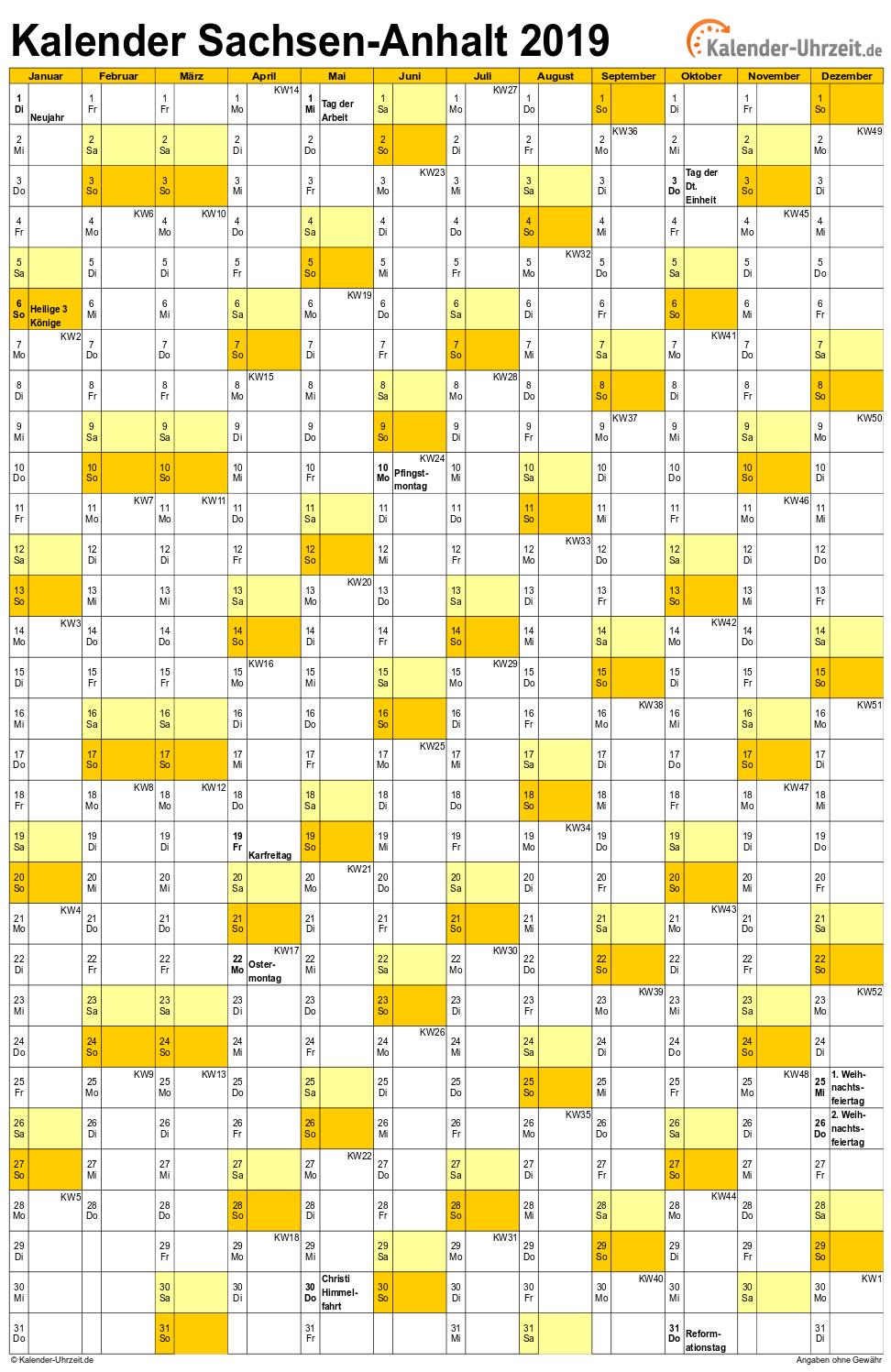 Sachsen-Anhalt Kalender 2019 mit Feiertagen - hoch-einseitig