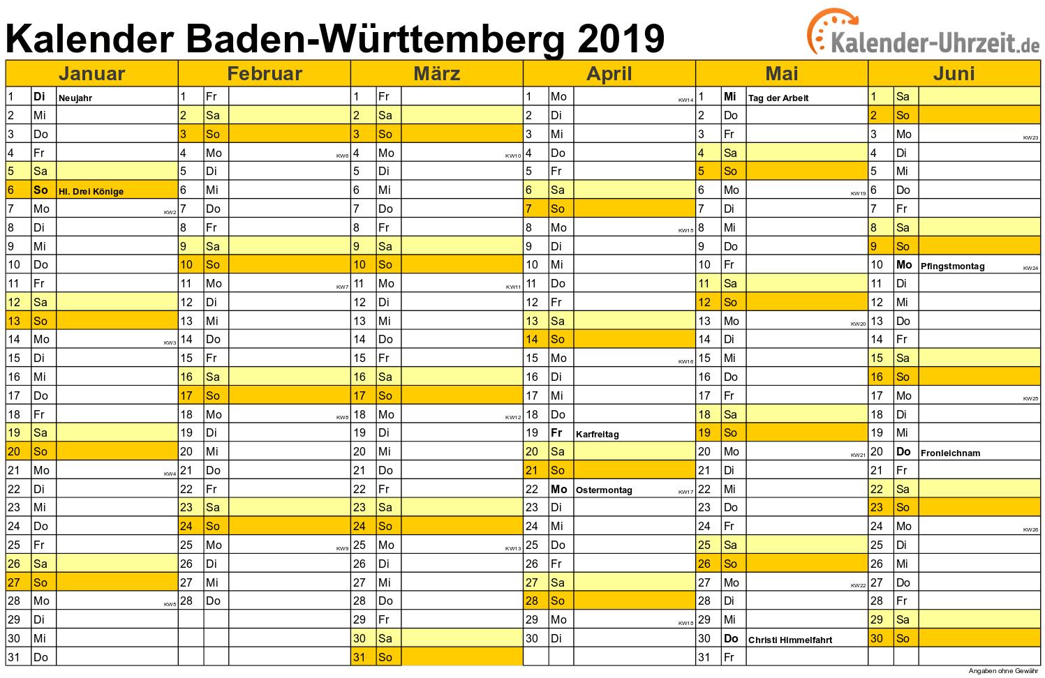 Baden-Württemberg Kalender 2019 mit Feiertagen - quer-zweiseitig