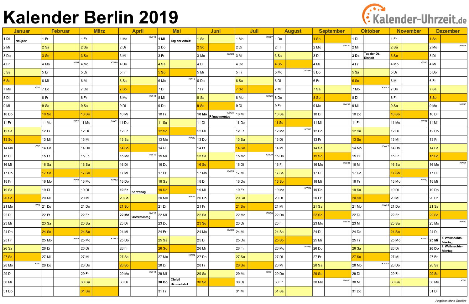 Berlin Kalender 2019 mit Feiertagen - quer-einseitig