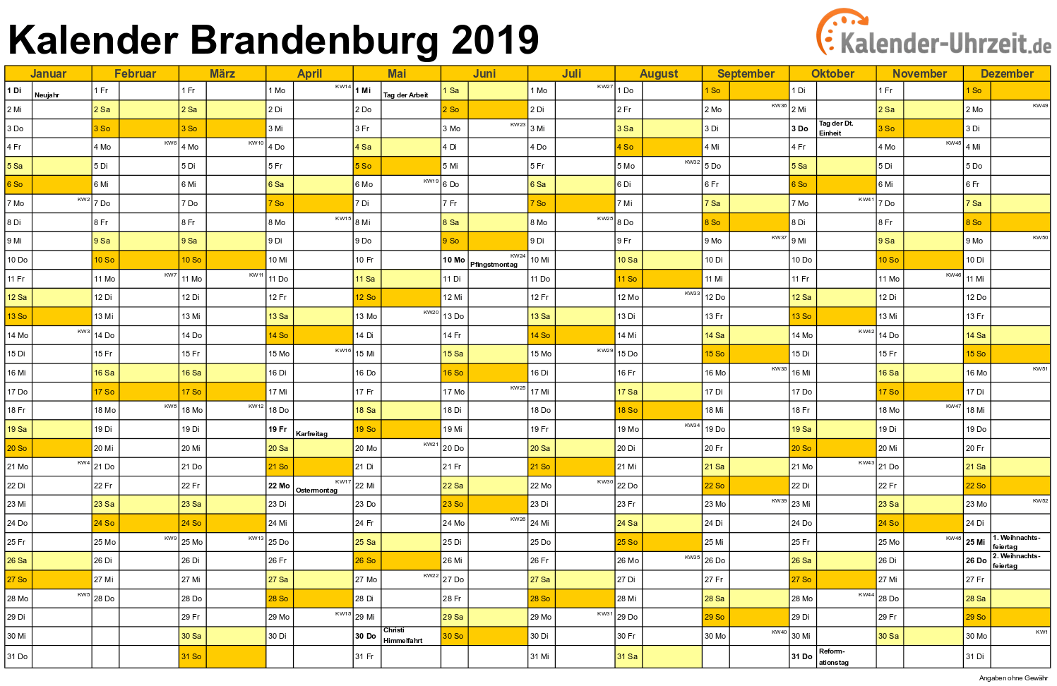 Brandenburg Kalender 2019 mit Feiertagen - quer-einseitig